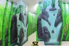 Graffiti-professionnel-decoration-paysage-foret-bamboo-artiste-peinture-trompe-loeil-bambou-sunset-coucher-de-soleil-peinture-mur-suoz-customsz