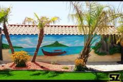 Graffiti-Cannes-Nice-Cote-dazur-provence-professionnel-fresque-murale-plage-cocotier-ile-paradisiaque-dessin-suoz-customsz-worldwide-Graffiti-vendee