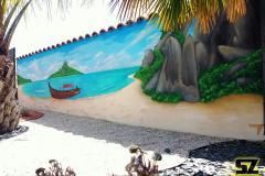 Graffiti-professionnel-fresque-murale-plage-cocotier-ile-paradisiaque-dessin-suoz-customsz-worldwide-Graffiti-vendee-st-hilaire-de-riez