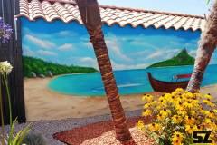 graffeur-professionnel-fresque-murale-plage-cocotier-ile-paradisiaque-dessin-suoz-customsz-worldwide-Graffiti-vendee-st-hilaire-de-riez
