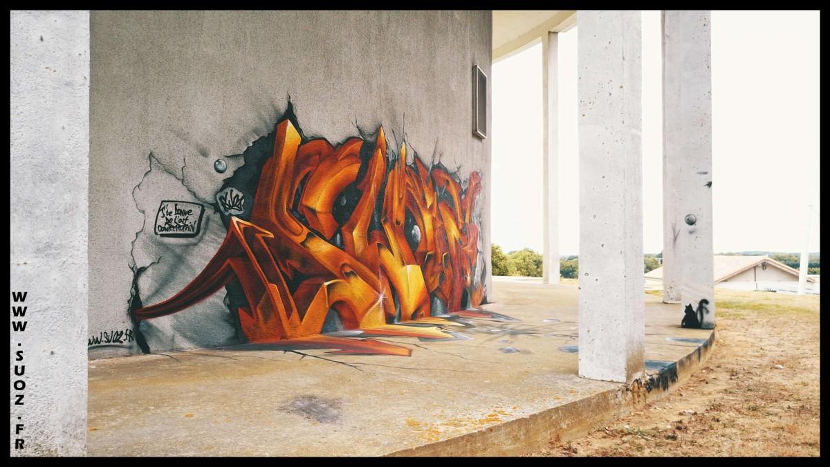 anamorphose graffiti suoz customsz worldwide artiste street art trompe l'œil décoration graffeur professionnel