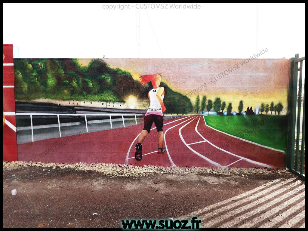 Graffiti Professionnel-decoration-athletisme-france graffeur artiste street art trompe l'oeil