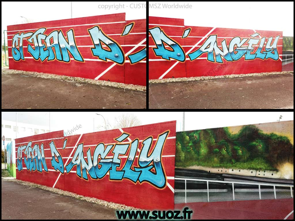 Graffiti Professionnel-decoration-decor-athlétisme-club-la-rochelle-saint-jean-d'angely-suoz-France