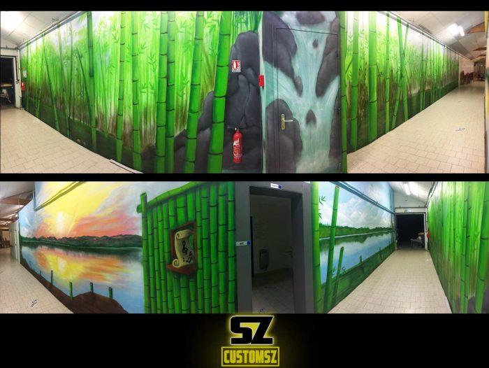 Décoration Graffiti professionnel, Chez Mylene à Rochefort (Poitou-Charentes) trompe l'oeil décor bambou et coucher de soleil - artiste SUOZ - CUSTOMSZ