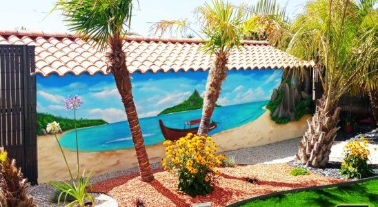 graffeur-professionnel-fresque-murale-plage-cocotier-ile-paradisiaque-dessin-suoz-customsz-worldwide-trompe-oeil-vendée-st-hilaire-de-riez